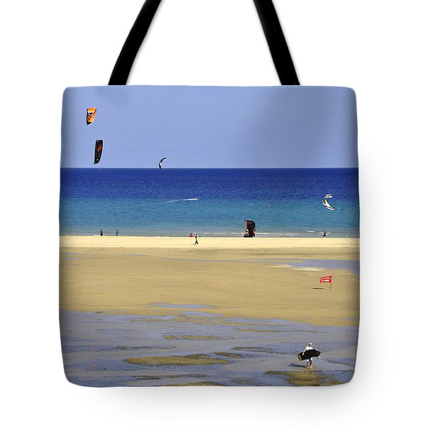Tote Bag featuring the photograph Kitesurfing Spot And Beach View At Melia Gorionez  by Julis Simo