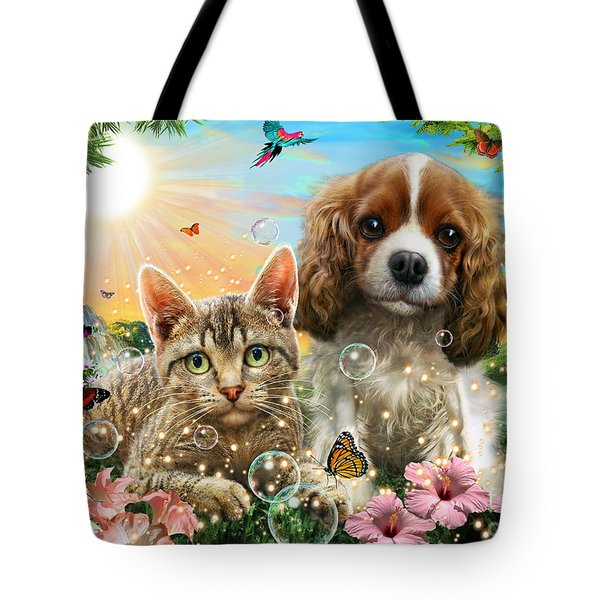 Kitten And Puppy Tote Bag by Adrian Chesterman