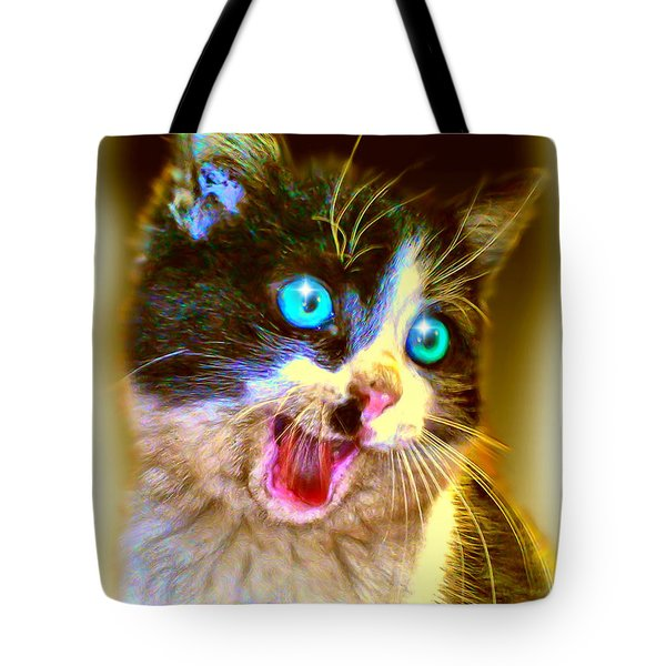 Tote Bag featuring the painting Kitten by Daniel Janda