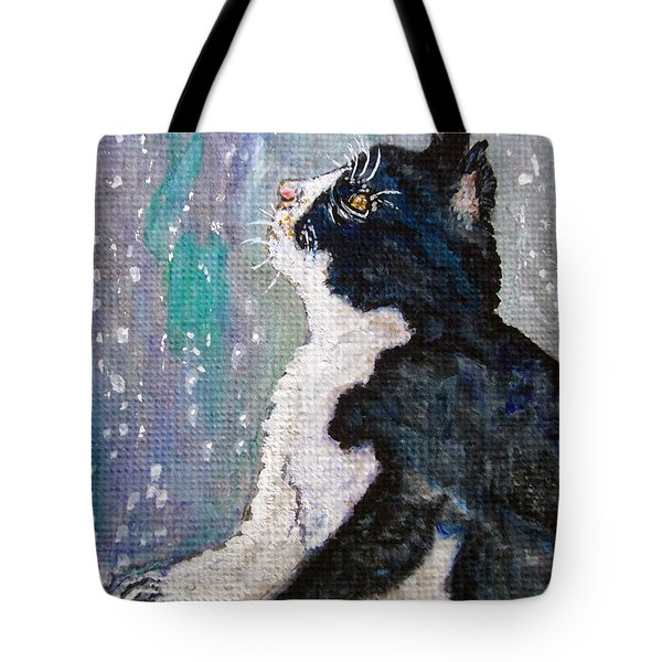 Tote Bag featuring the painting Kitten In The Window by Ella Kaye Dickey
