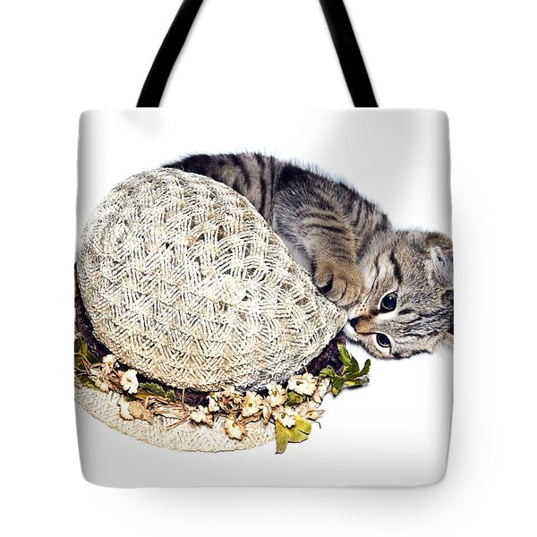 Tote Bag featuring the photograph Kitten With An Easter Bonnet by Susan Leggett