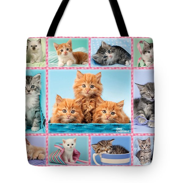 Kittens Gingham Multi-pic Tote Bag by Greg Cuddiford