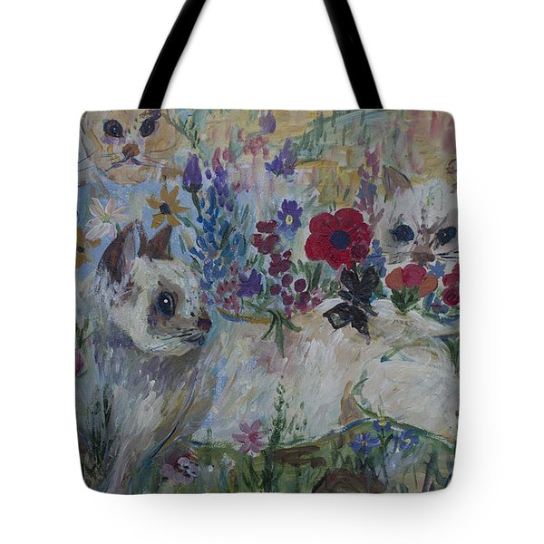 Kittens In Wildflowers Tote Bag