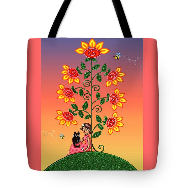 Kitty And Bumblebees Tote Bag