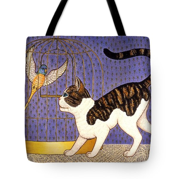 Kitty And Parakeet Tote Bag by Linda Mears