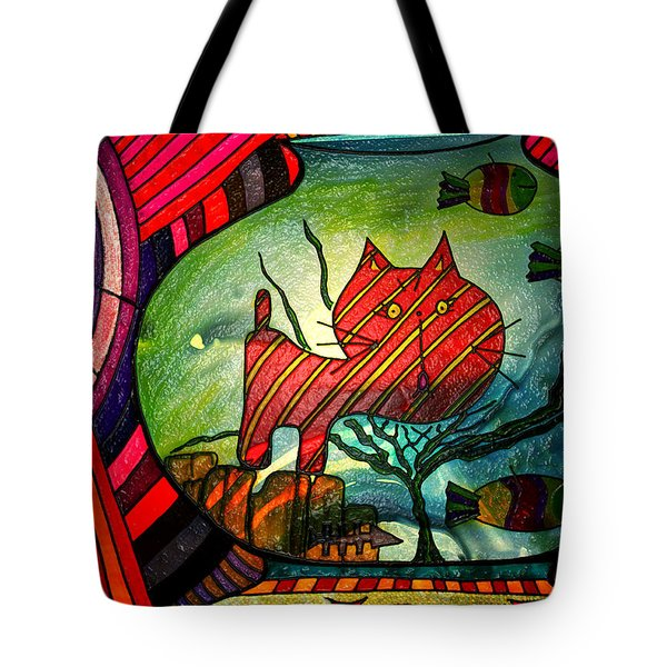 Kitty In A Fish Bowl - Abstract Cat Tote Bag