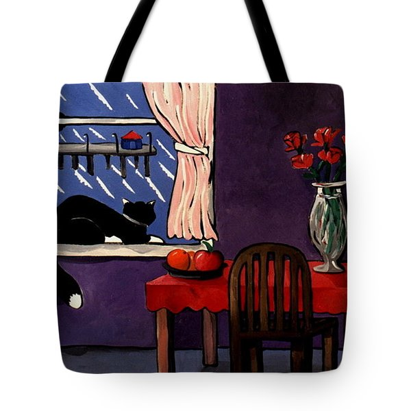 Kitty Over Manhattan Tote Bag by Lance Headlee