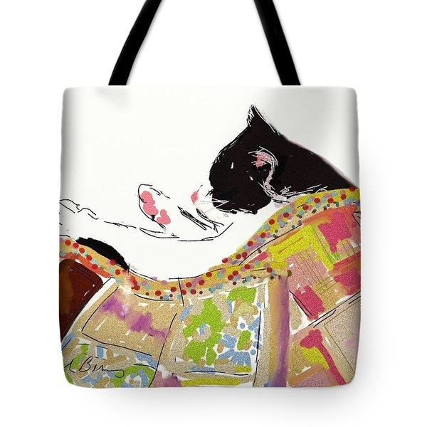 Kitty Sleeping Under Quilt Tote Bag