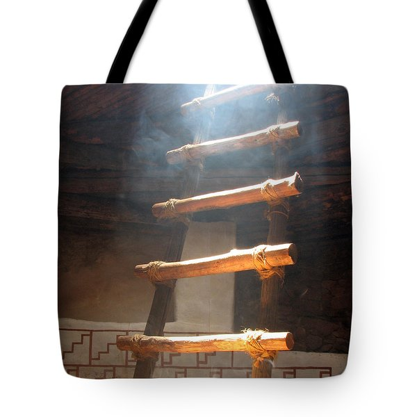 Tote Bag featuring the photograph Kiva Ladder by Marcia Socolik