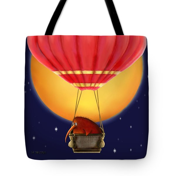Kiwi Bird Kev. Fly Me To The Moon Tote Bag