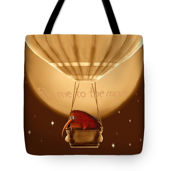 Kiwi Bird Kev - Fly Me To The Moon - Sepia Tote Bag