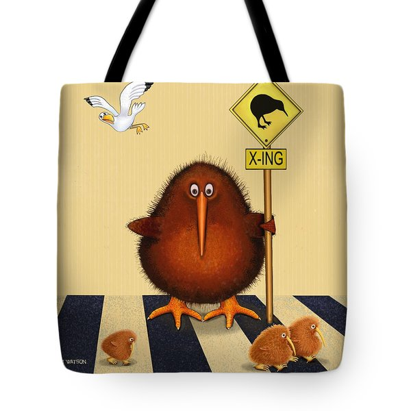 Kiwi Birds Crossing Tote Bag