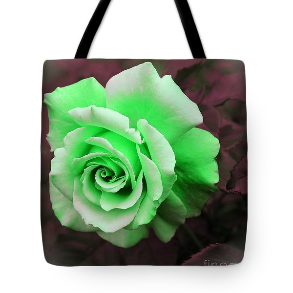 Kiwi Lime Rose Tote Bag by Barbara Griffin