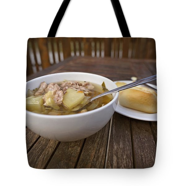 Tote Bag featuring the photograph Kjotsupa Traditional Icelandic Lamb Soup Stew  by Marianne Campolongo