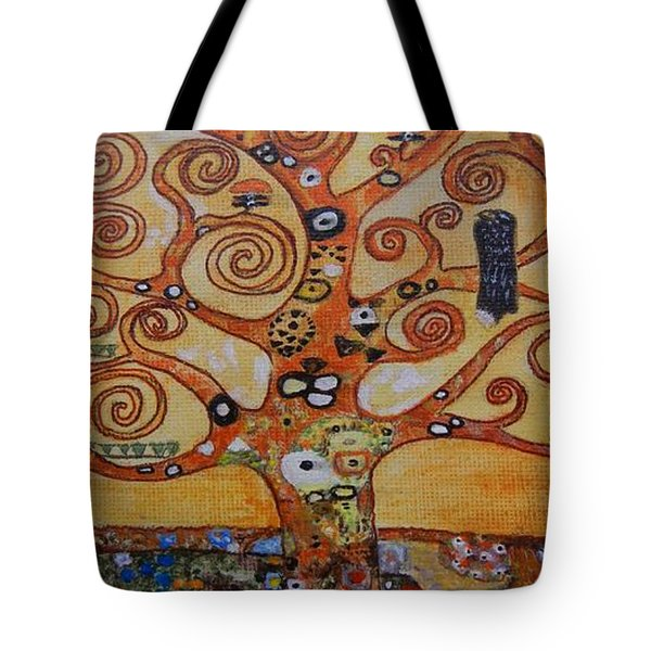 Tote Bag featuring the painting Klimt Tree Of Life by Diana Bursztein