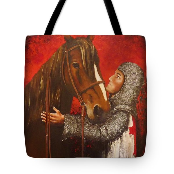 Knight And Horse Tote Bag