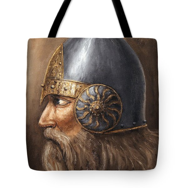 Tote Bag featuring the painting Knight by Arturas Slapsys