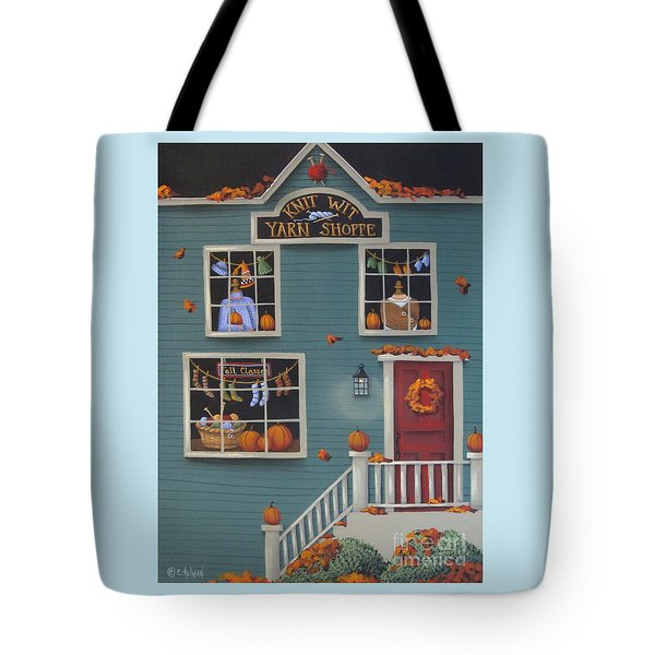 Knit Wit Yarn Shoppe Tote Bag by Catherine Holman
