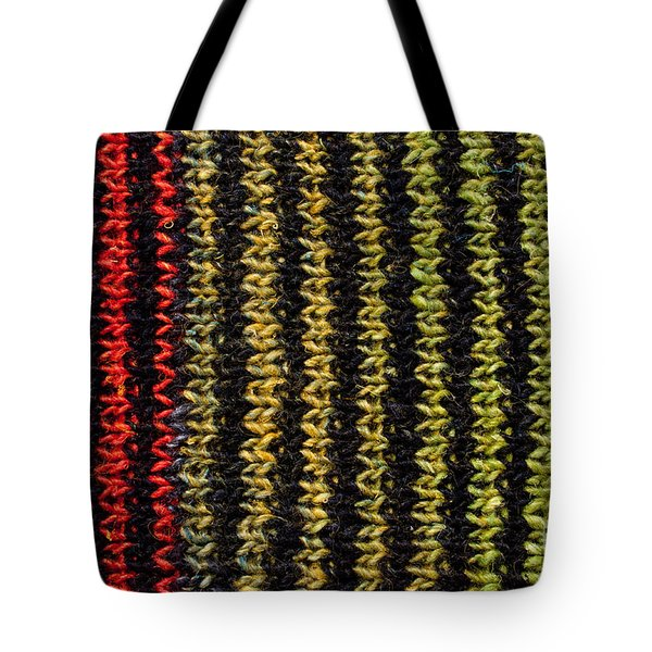 Tote Bag featuring the photograph Knitted Striped Scarf by Les Palenik