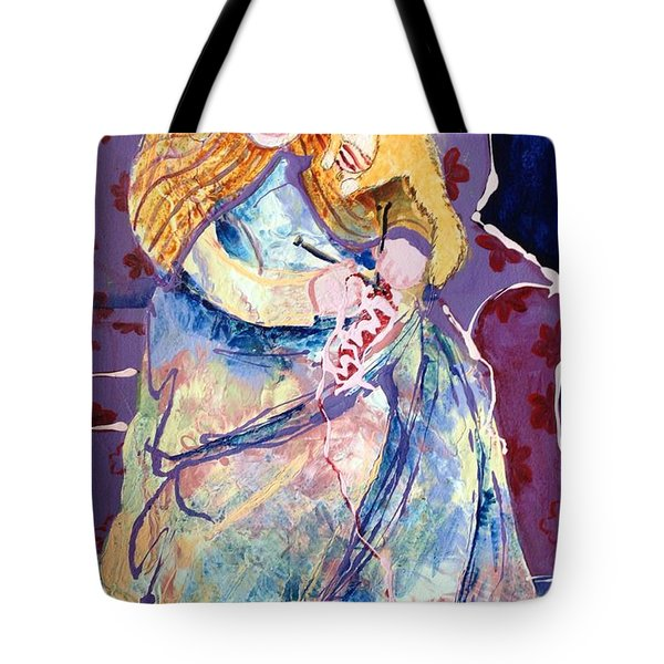Knitting With Kitty Tote Bag by Marilyn Jacobson