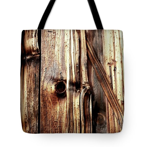 Knotty Wood Grain Tote Bag by Janine Riley