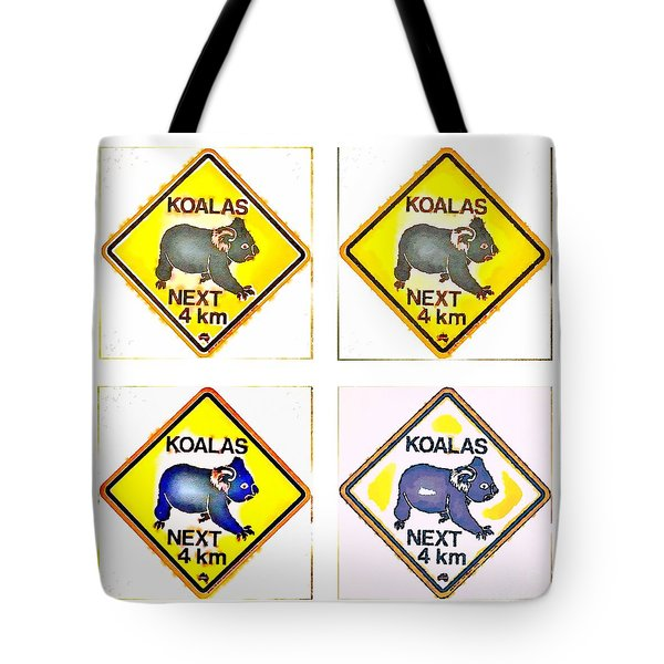 Tote Bag featuring the painting Koalas Road Sign Pop Art by Helge