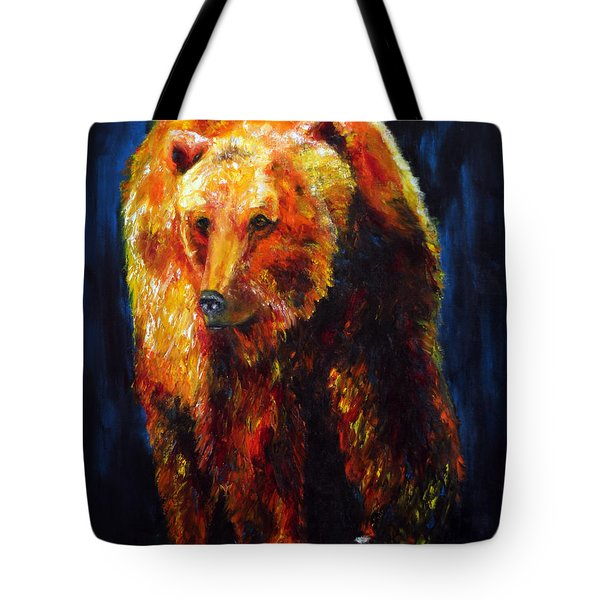 Kobuk's Domain Contemporary Bear Painting Tote Bag by Jennifer Godshalk