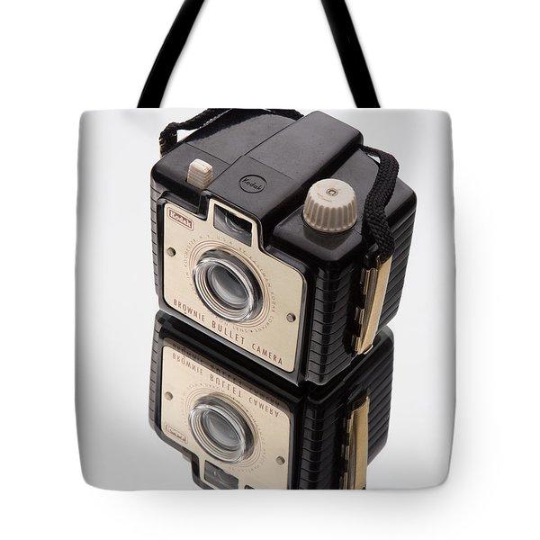 Kodak Brownie Bullet Camera Mirror Image Tote Bag by Edward Fielding