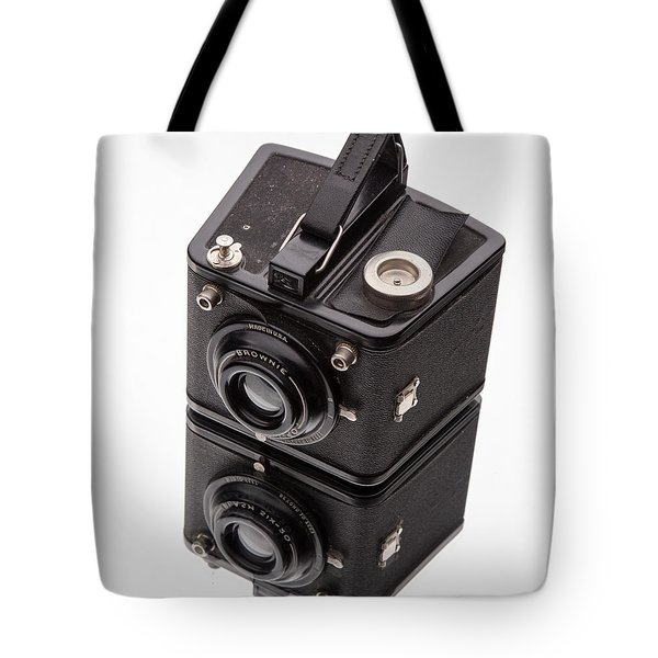 Kodak Brownie Film Camera Mirror Image Tote Bag by Edward Fielding