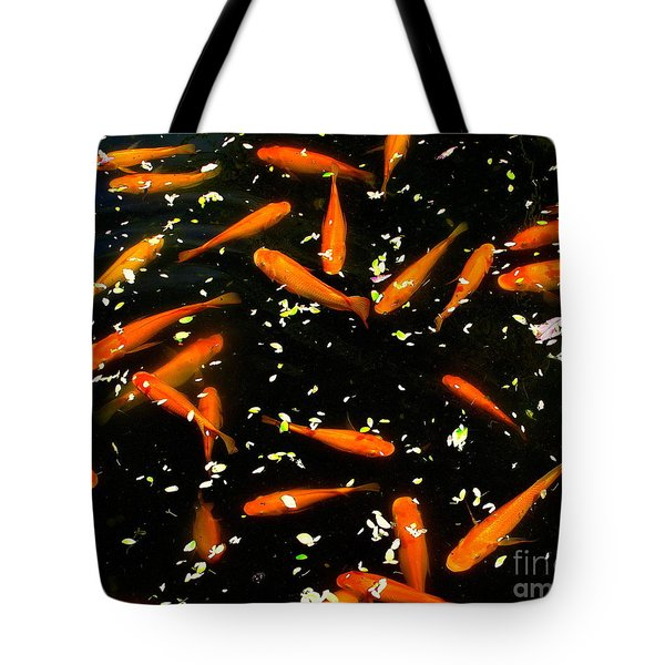 Koi Among Petals Tote Bag