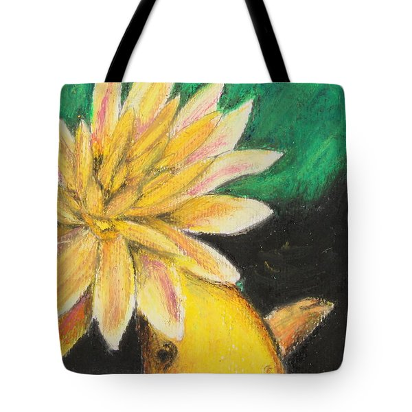 Tote Bag featuring the painting Koi And The Lotus Flower by Jeanne Fischer
