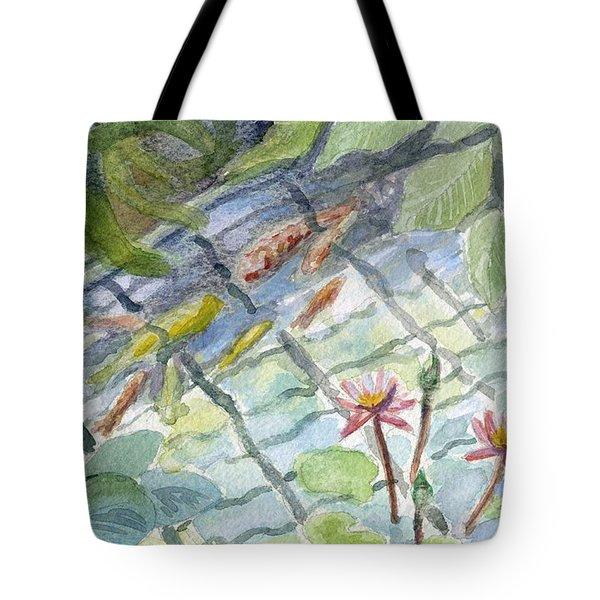 Koi Carp And Waterlilies. Tote Bag
