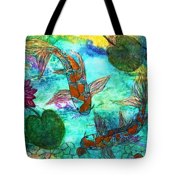 Koi Eating Apple Snails Tote Bag