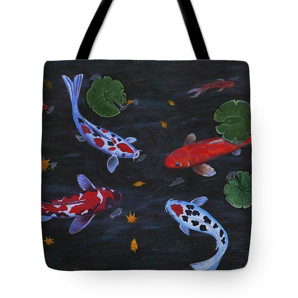 Tote Bag featuring the painting Koi Fishes Original Acrylic Painting by Georgeta  Blanaru