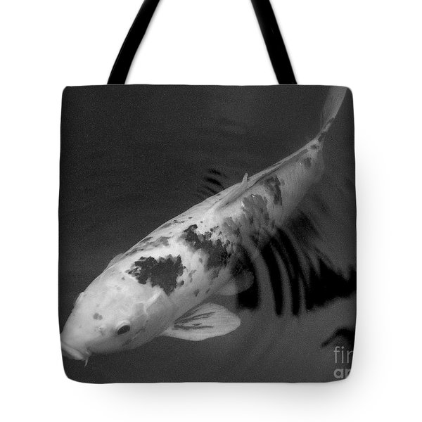 Koi In Black And White Tote Bag by Mary Deal