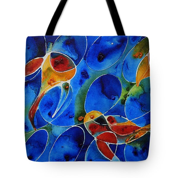 Koi Pond 2 - Liquid Fish Love Art Tote Bag by Sharon Cummings