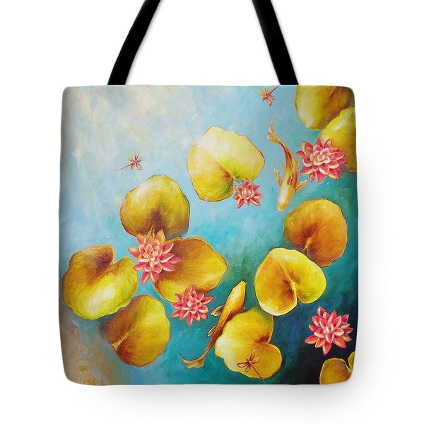 Tote Bag featuring the painting Koi Pond by Dina Dargo