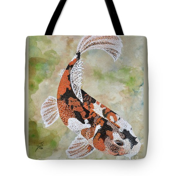 Tote Bag featuring the painting Koi by Suzette Kallen