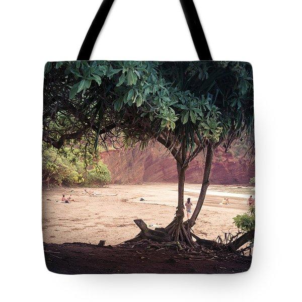 Koki Beach Kaiwiopele Haneo'o Hana Maui Hikina Hawaii Tote Bag by Sharon Mau