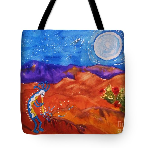Kokopelli Playing To The Moon Tote Bag