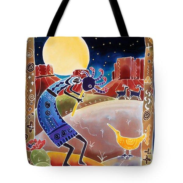 Kokopelli Sings Up The Moon Tote Bag