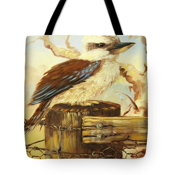 Kookaburra On Fence Tote Bag