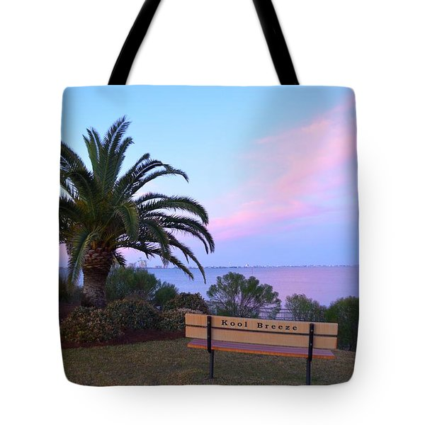 Kool Breeze Bench At Sunrise Tote Bag by Jeff at JSJ Photography