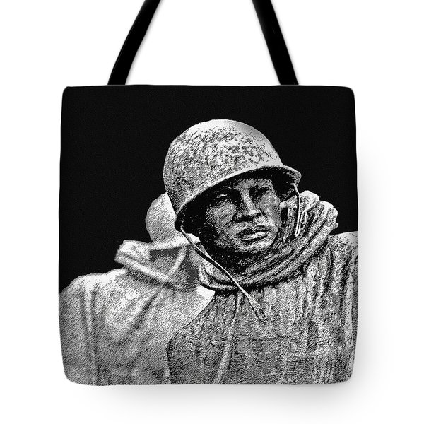 Tote Bag featuring the painting Korean War Veterans Memorial by Bob and Nadine Johnston