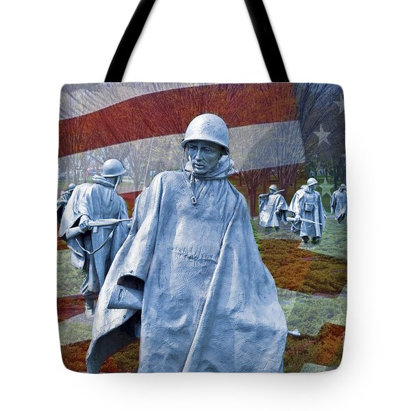 Korean War Veterans Memorial Bronze Sculpture American Flag Tote Bag