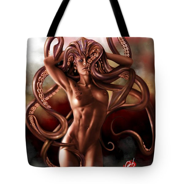 Tote Bag featuring the painting Kraken by Pete Tapang