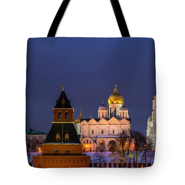 Kremlin Cathedrals At Night - Featured 3 Tote Bag by Alexander Senin