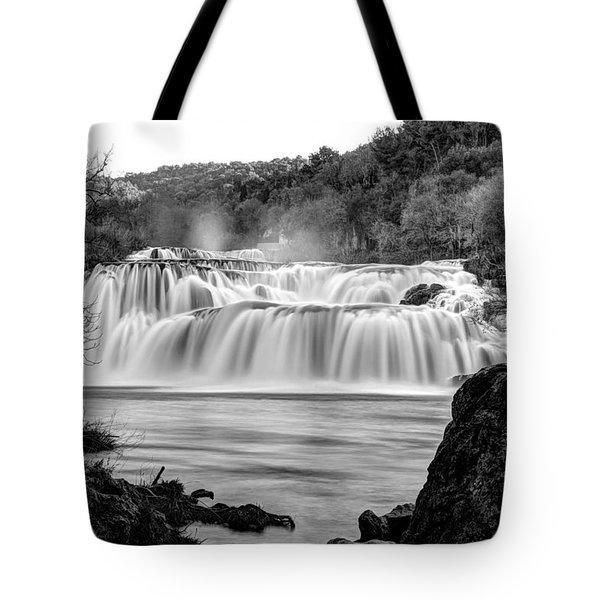 Krka Waterfalls Bw Tote Bag