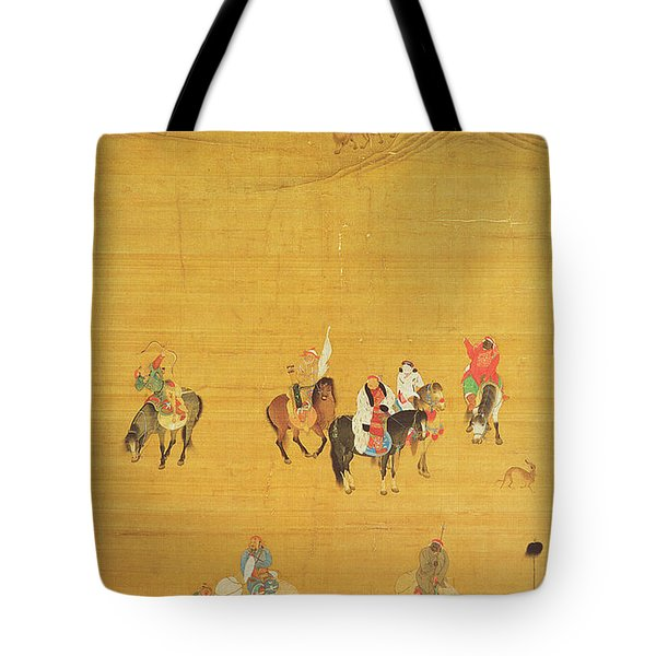 Kublai Khan 1214-94 Hunting, Yuan Dynasty Ink & Colour On Silk See 110534 & 226021 For Detail Tote Bag