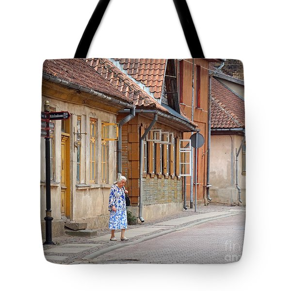 Kuldiga Street Crossing Tote Bag by Martin Konopacki